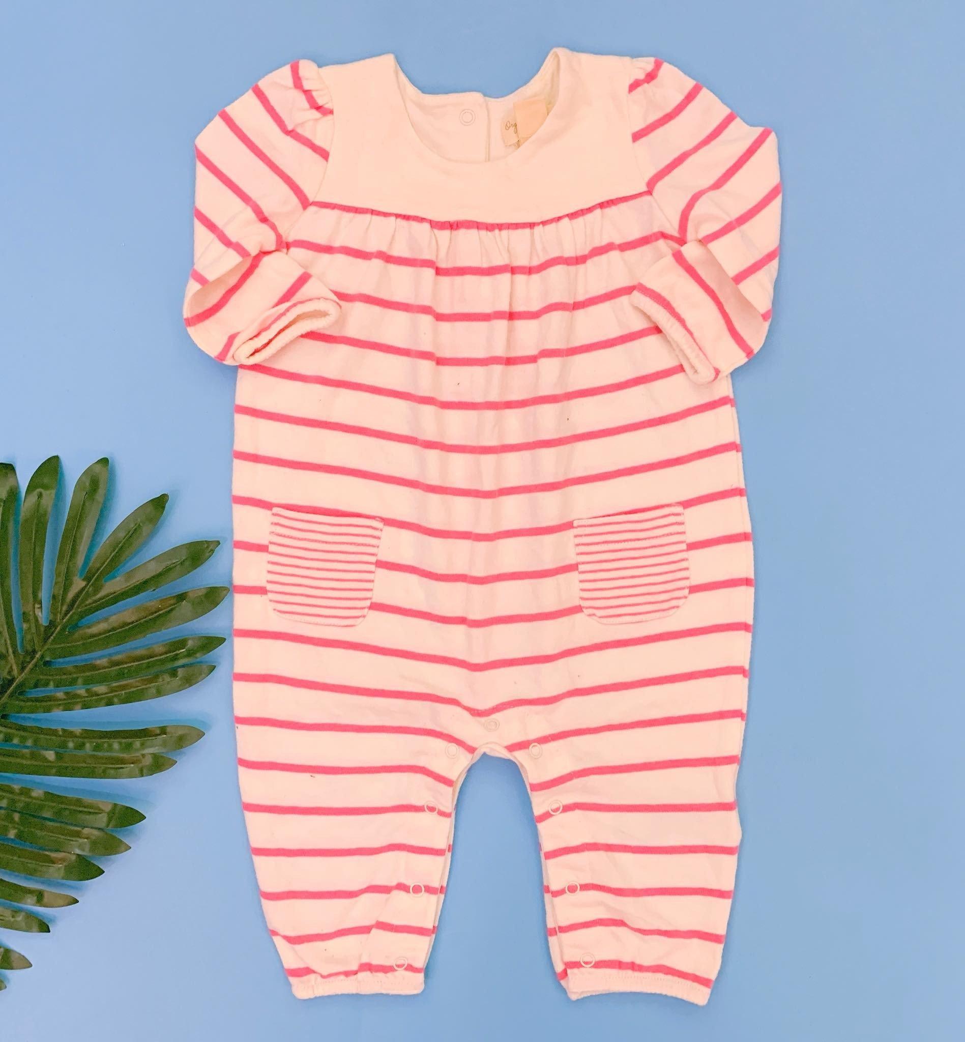 [5-10kg] Sleepsuit Baby Gap 56 [Girl] - Kem/Sọc Hồng