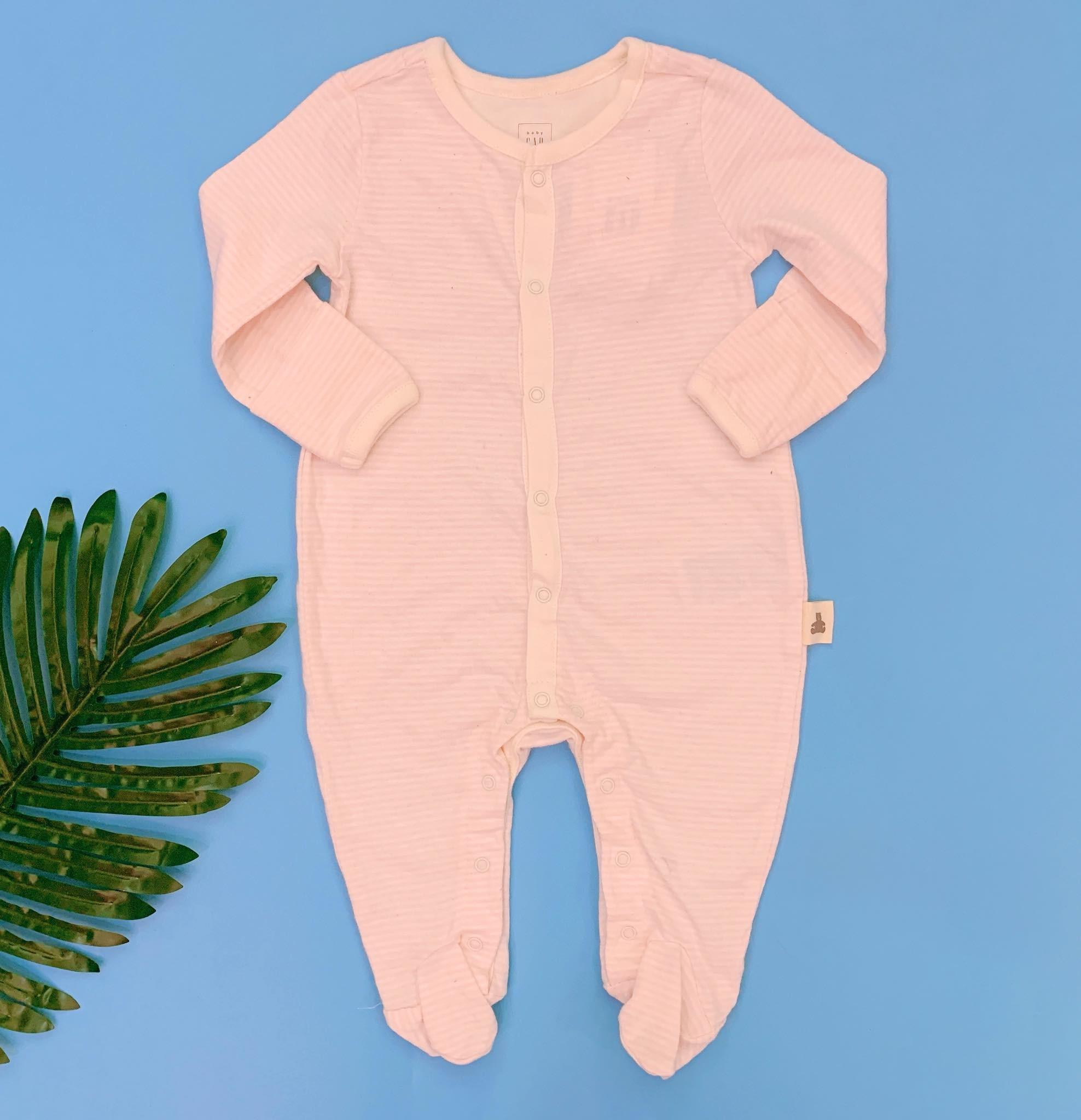 [5-10kg] Sleepsuit Baby Gap 56 [Girl] - Kem/Sọc Hồng Nhạt