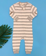 [9-14kg] Sleepsuit Baby Gap 56 [Boy] - Kem/Sọc Xám To