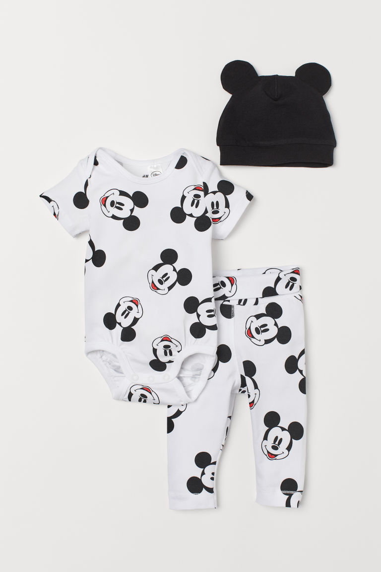 [3-9kg] Set 3 H&M Mickey [Boy/Girl] - Trắng/Mickey