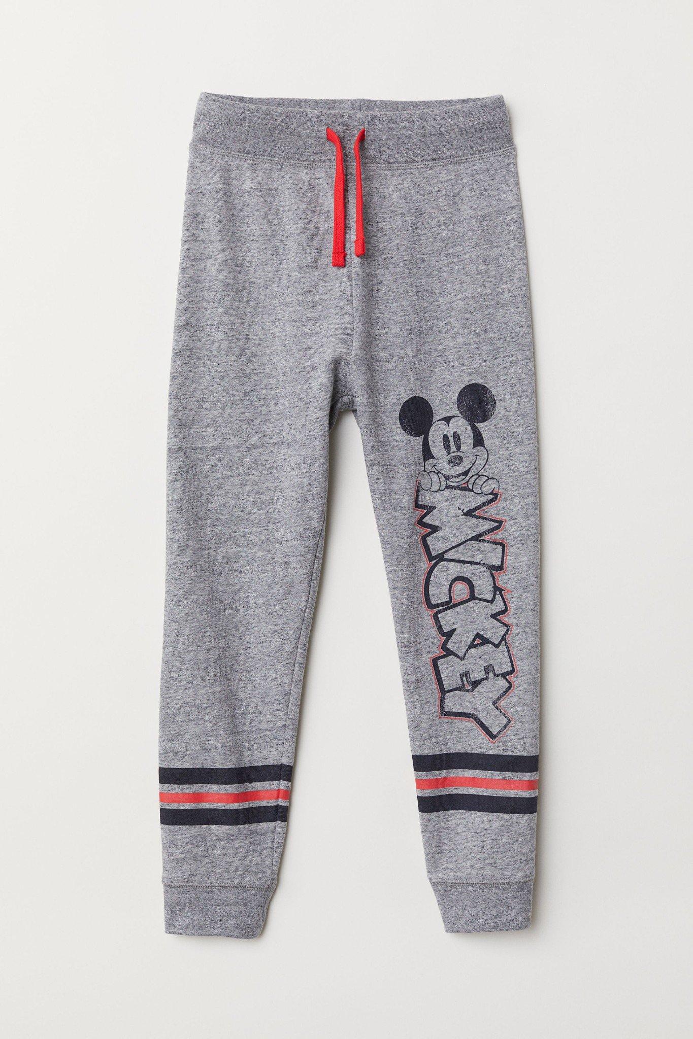 [17-18kg] Quần Nỉ Jogger H&M 118 [Boy] - Xám Đậm/Mickey