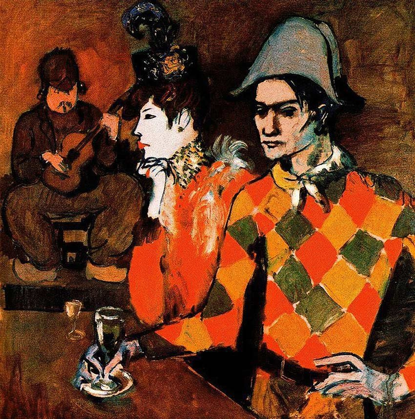At Lapin Agile Harlequin With Glass 1905 By Pablo Picasso