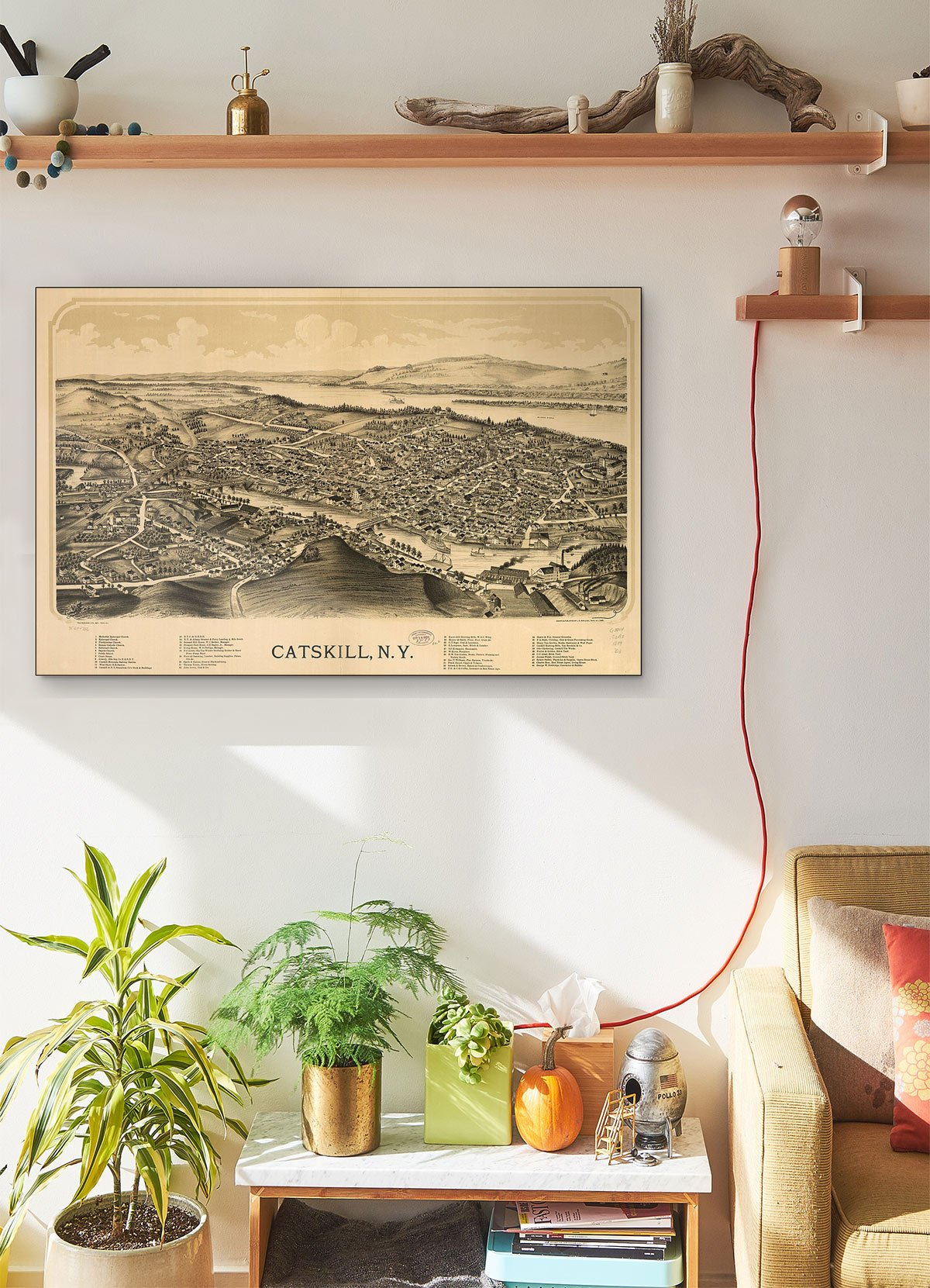 Catskill N.y LARGE Vintage Map