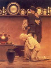 Lady Violetta And The Knave Examining The Tarts by Maxfield Parrish