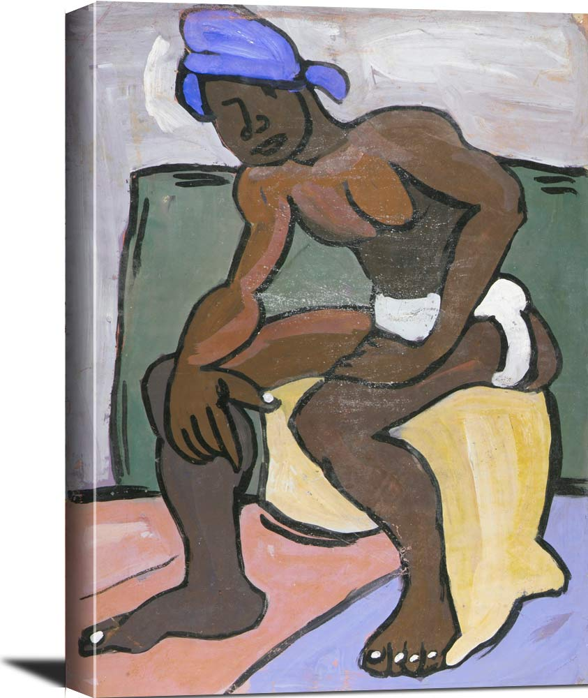 Seated Male Model With Blue Turban William H Johnson