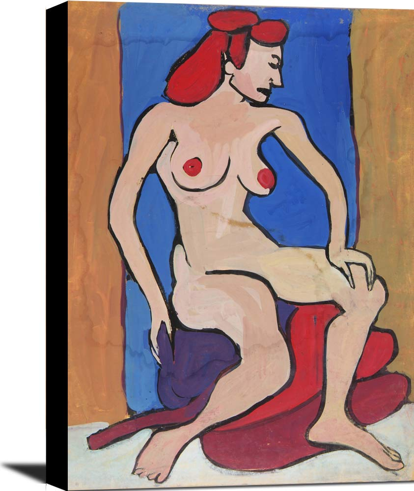 Female Nude With Red Hair Seated On Pillows William H Johnson