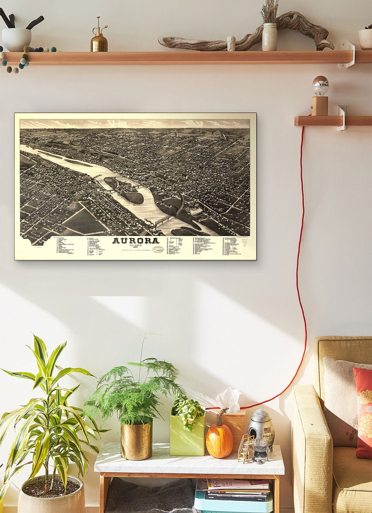 Aurora Illinois 1882 LARGE Vintage Map