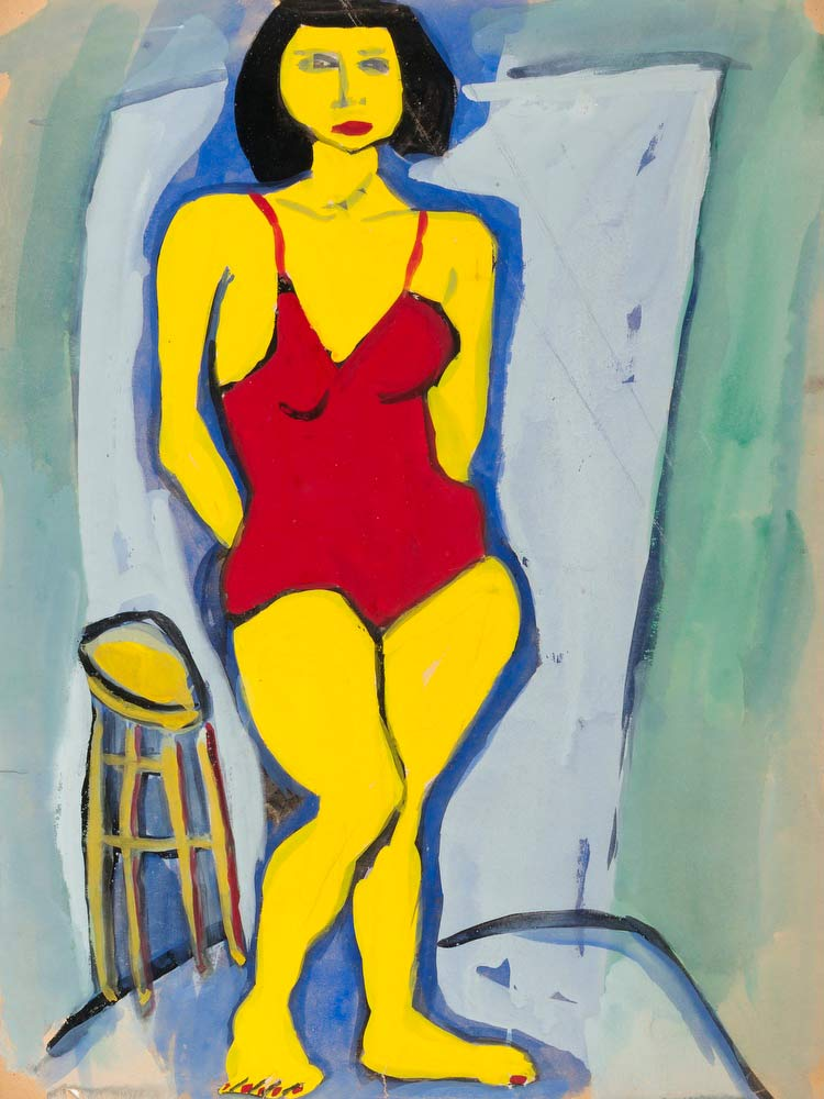 Standing Woman In Red Bathing Suit William H Johnson