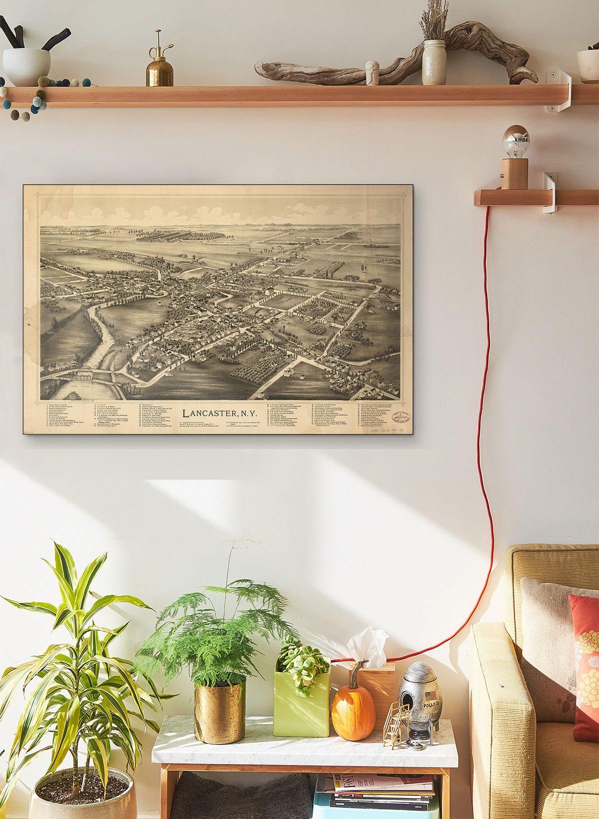 Lancaster N.y LARGE Vintage Map