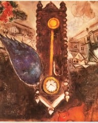 Clock With A Blue Wing by Marc Chagall