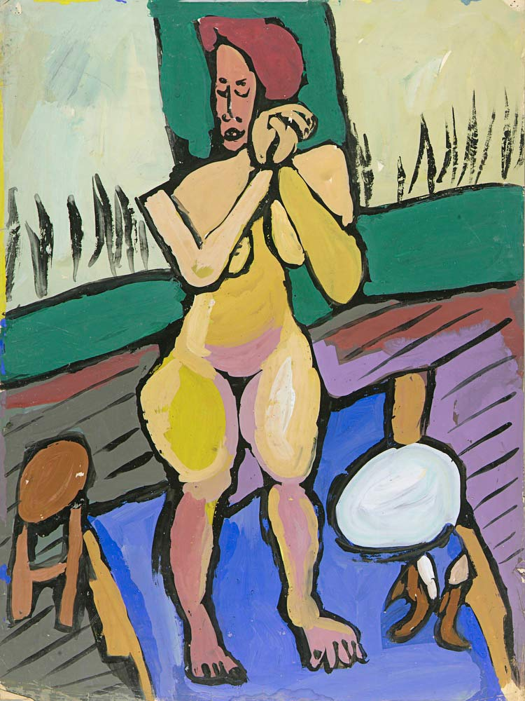 Standing Female Nude With Stool And Table William H Johnson
