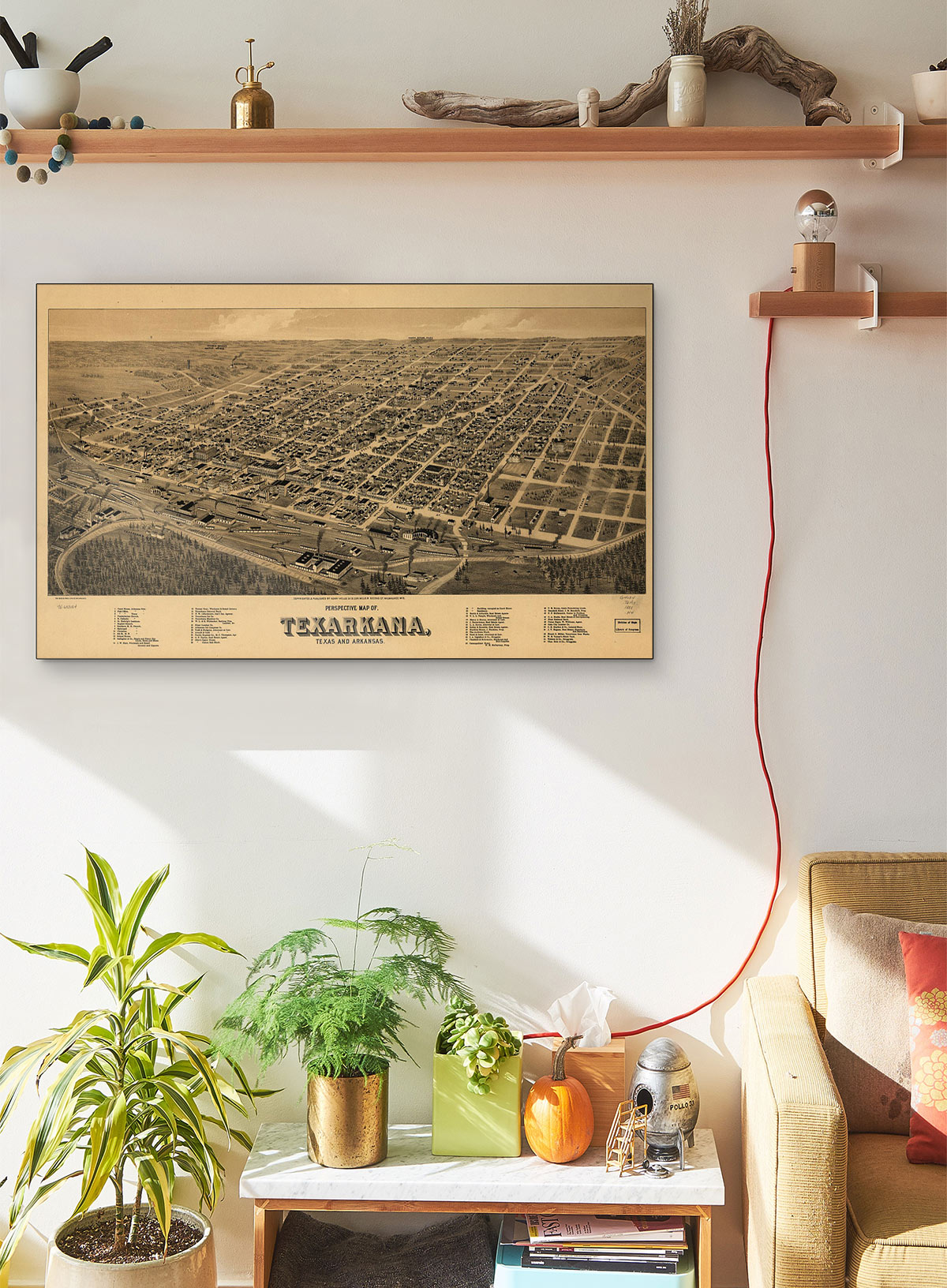 Perspective LARGE Vintage Map Of Texarkana Texas And Arkansas LARGE Vintage Map