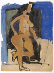 Standing Female Nude In Profile William H Johnson