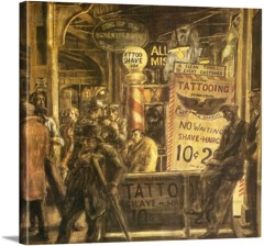 Tattoo And Haircut 1932 by Reginald Marsh