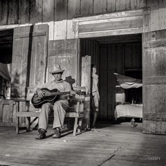 Farmer Playing Guitar On The Porch In The Evening. Near Natchitoches Louisiana 1940 by Bw Photography
