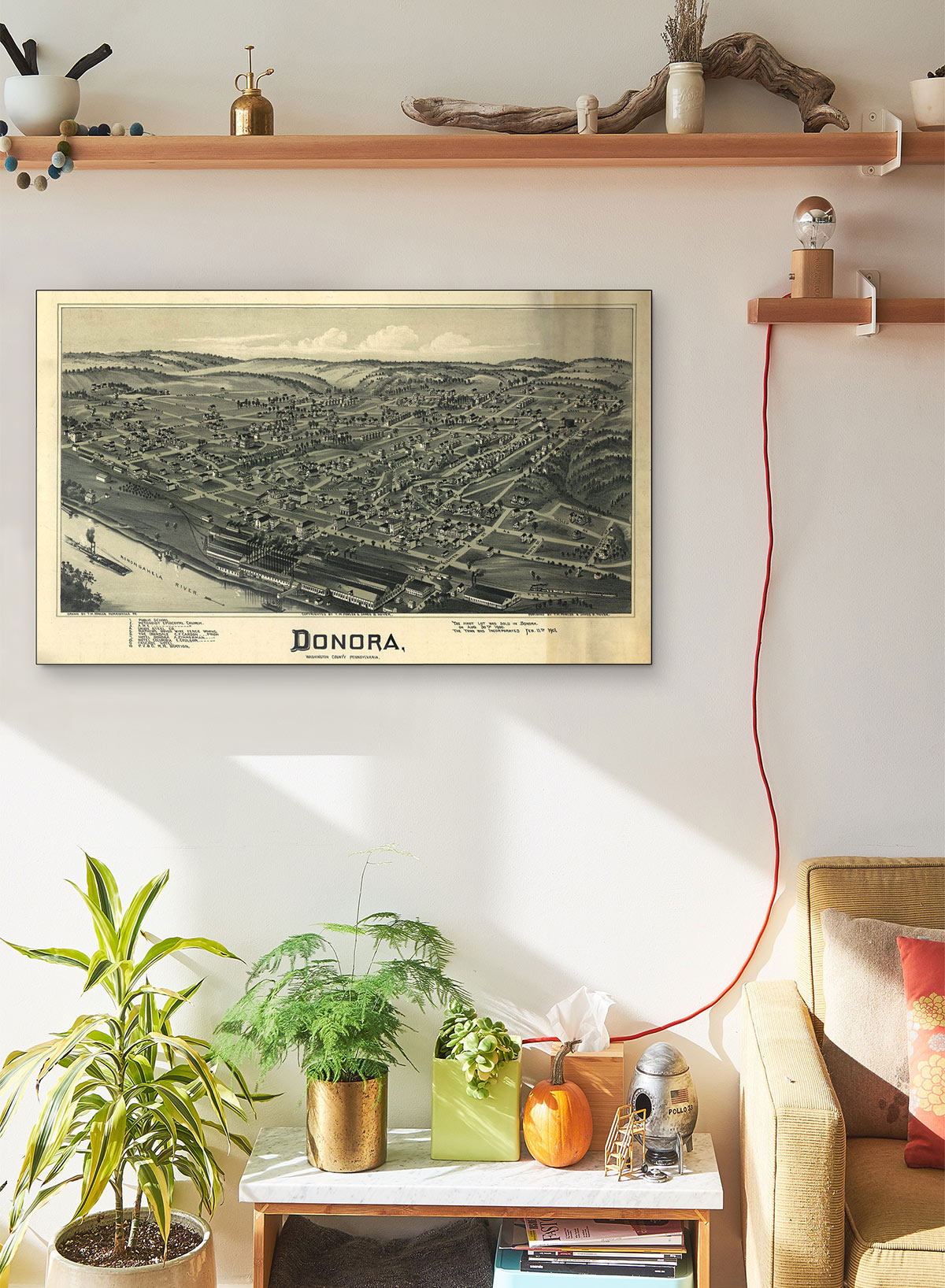 Donora Washington County Pennsylvania 1901 LARGE Vintage Map