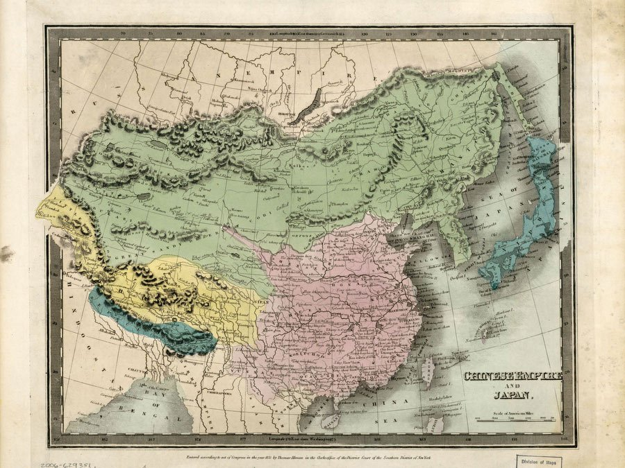 Chinese Empire And Japan Burr, David H 1835 - Vintage Asia Maps