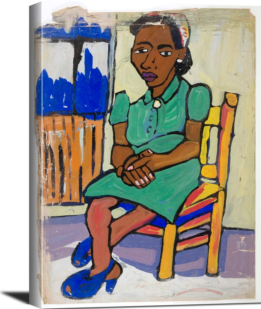 Seated Woman In Green Dress And Blue Shoes William H Johnson