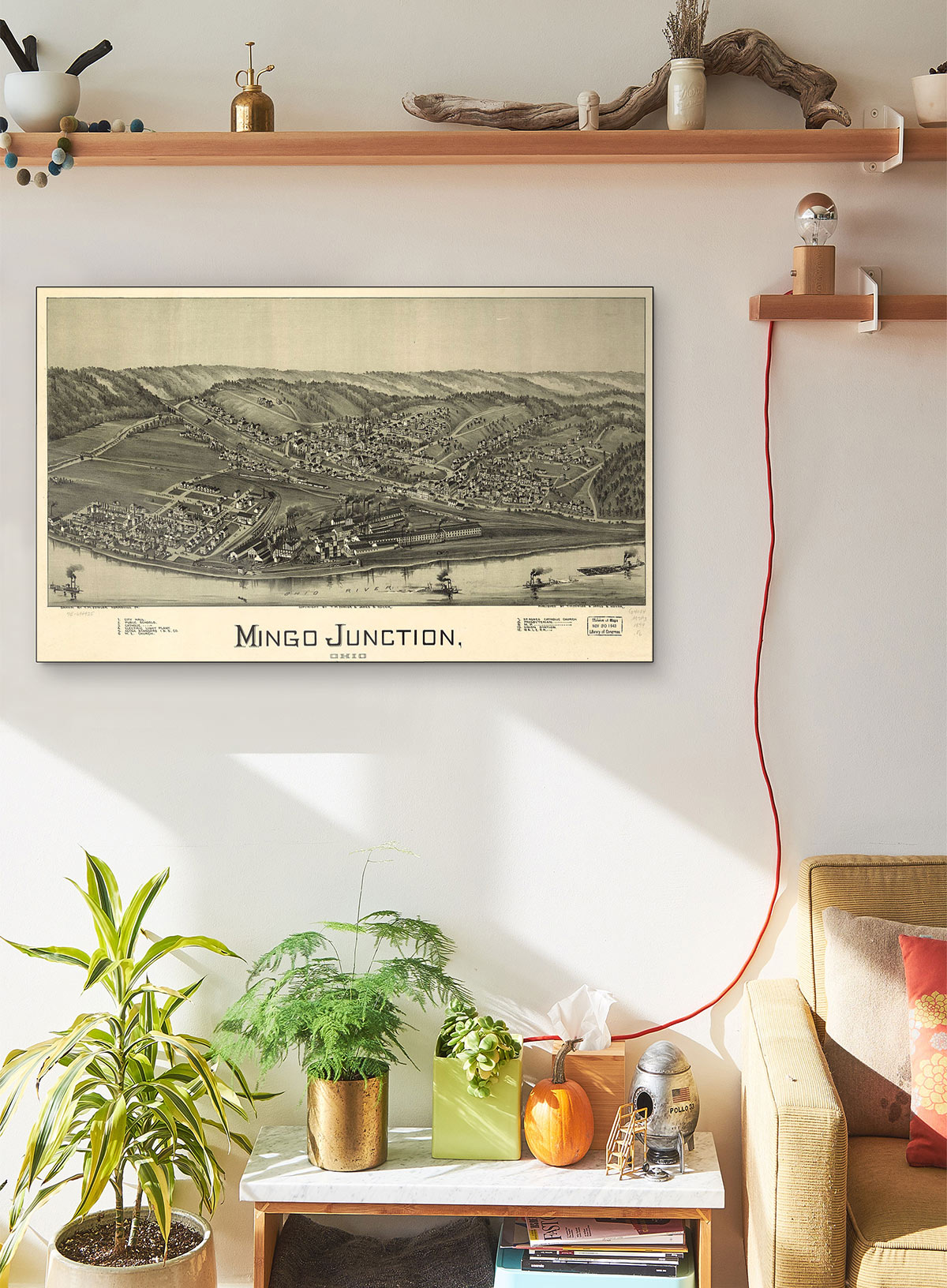 Mingo Junction Ohio 1899 LARGE Vintage Map