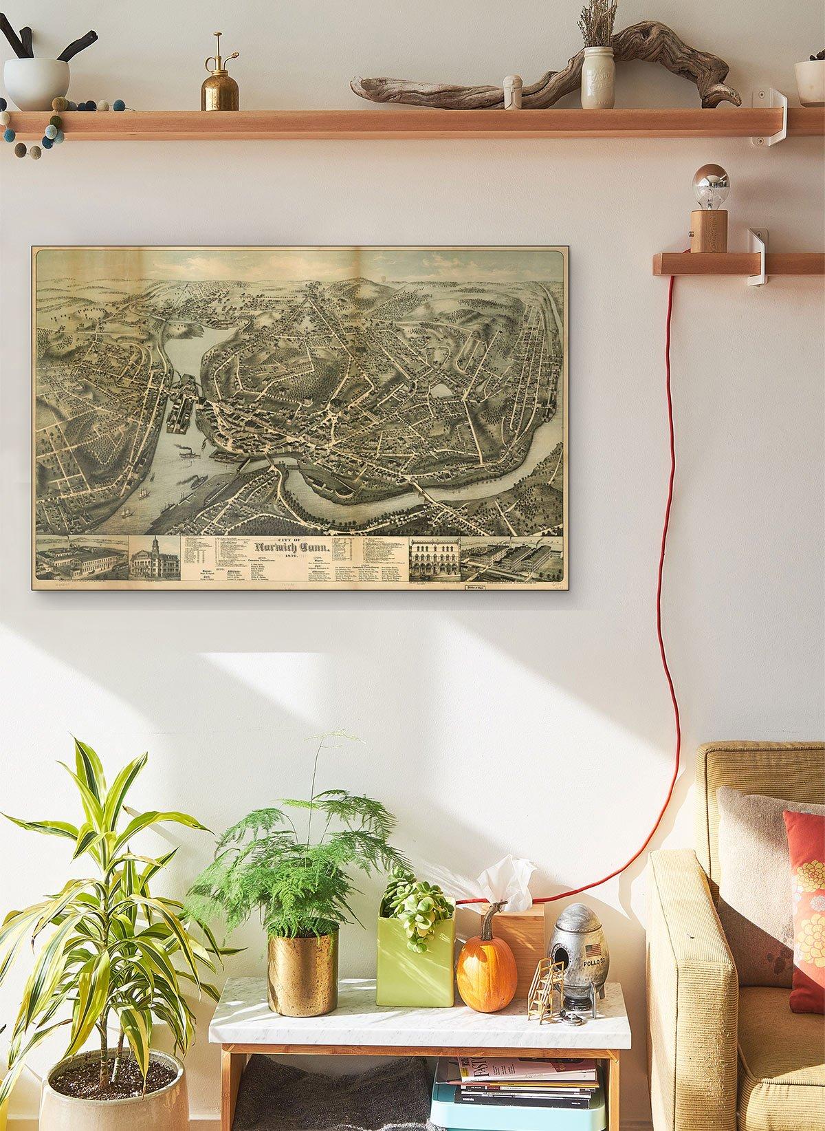 City Of Norwich Conn 1876 LARGE Vintage Map