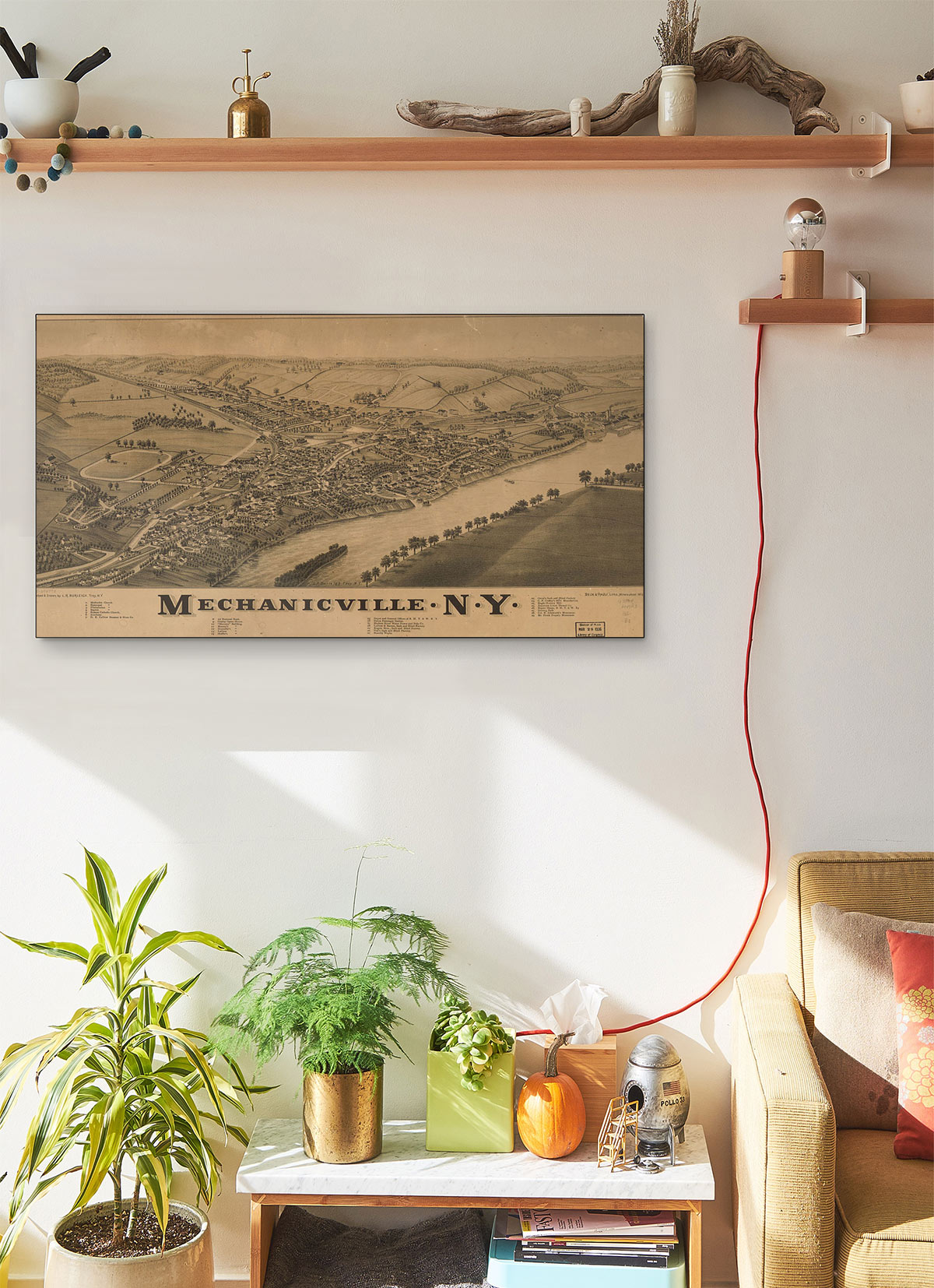 Mechanicville N.y LARGE Vintage Map