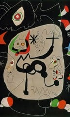 Dancer Hearing An Organ Playing In A Gothic Cathedral 1945 by Joan Miro