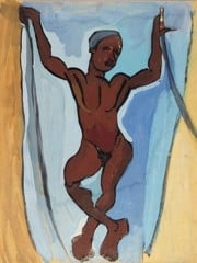 Standing Male Nude With Arms Raised William H Johnson
