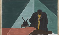 Migration Panel 56 Among One Of The Last Groups To Leave The South Was The Negro Professional Who Was Forced To Follow His Clientele To Make A Living by Jacob Lawrence