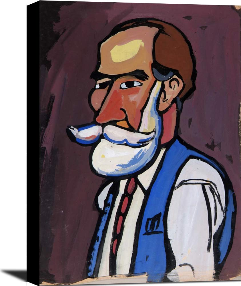 Bearded Man With Blue Vest William H Johnson