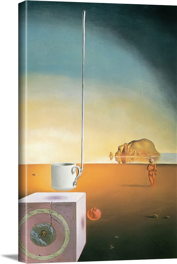 Half A Giant Cup Suspended With An Inexplicable Appendage Five Meters Long by Dali