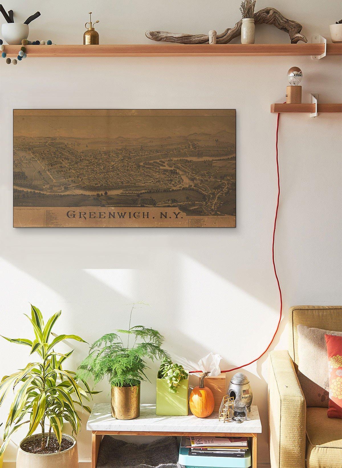 Greenwich N.y LARGE Vintage Map