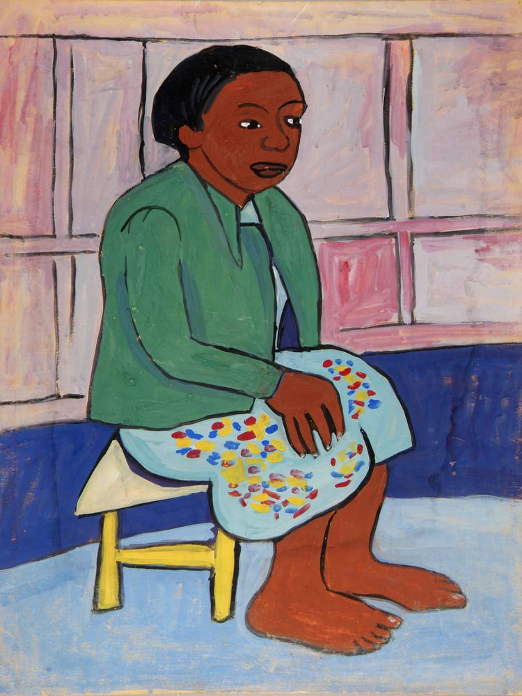 Barefoot Seated Woman In Green Jacket William H Johnson