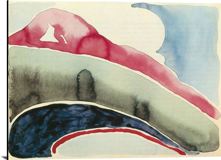 Pink And Green Mountains Iii by Georgia O Keeffe