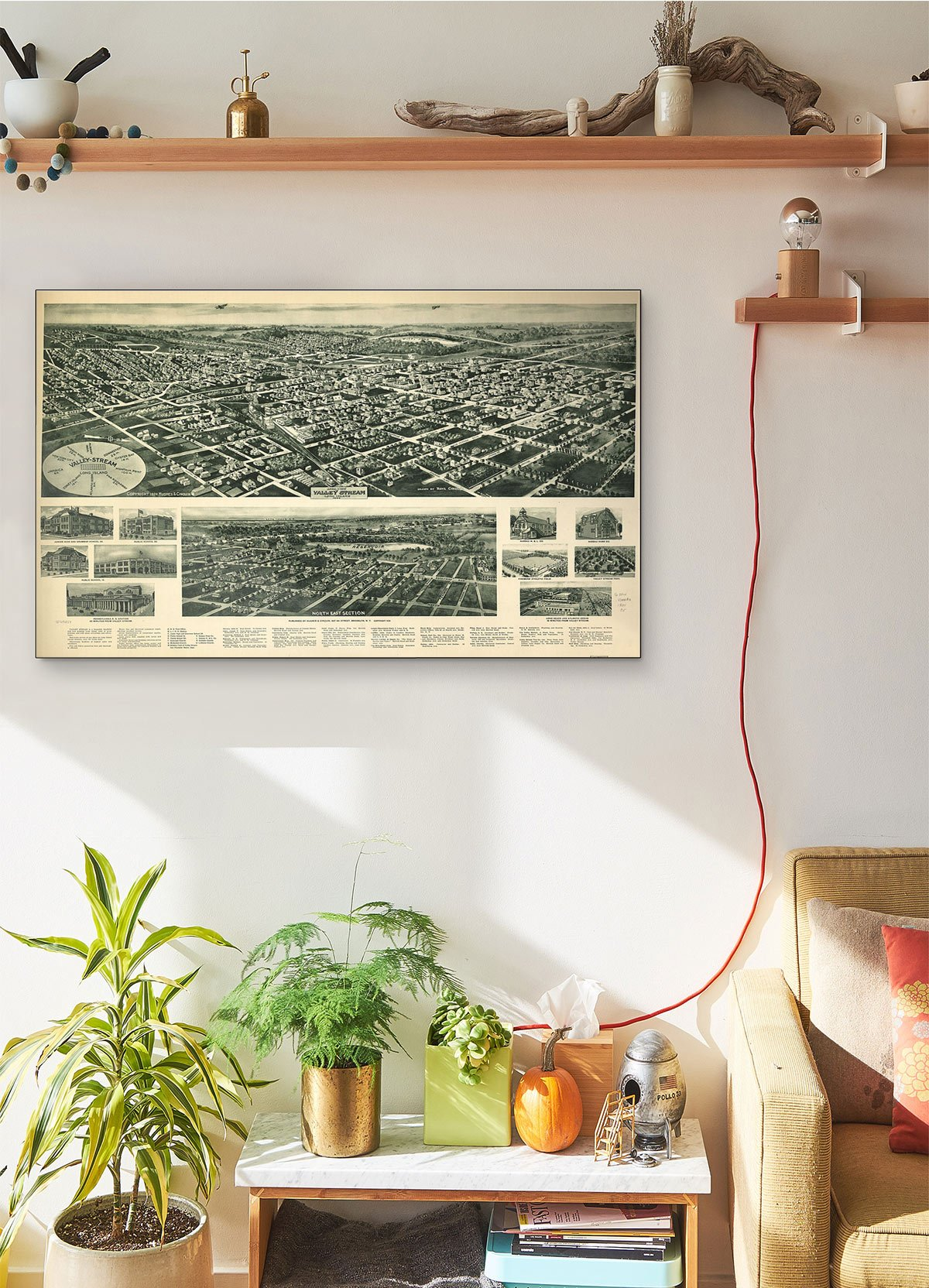 Aero View Of Valley Stream Long Island 1924 LARGE Vintage Map