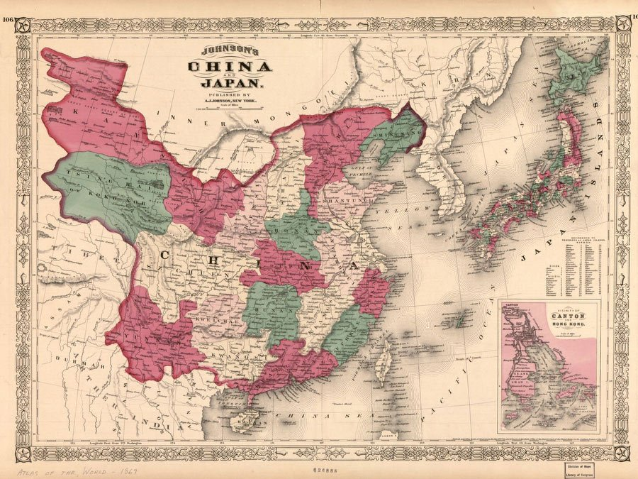 China On Map Of Asia.Johnson S China And Japan 1868 Vintage Asia Maps Print From Print