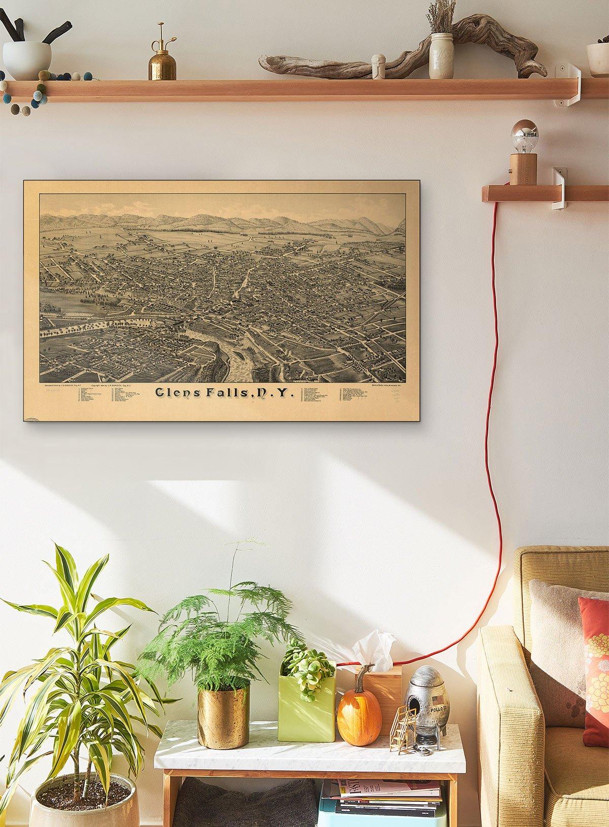 Glens Falls N.y LARGE Vintage Map