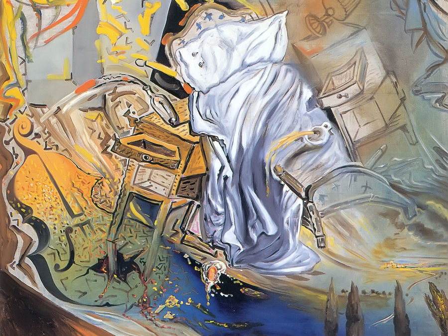Bed And Two Bedside Tables Ferociously Attacking A Cello by Dali