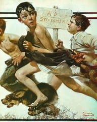No Simming by Norman Rockwell