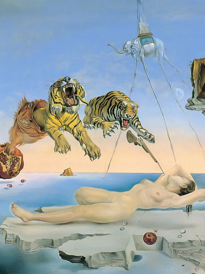 Dream Caused By The Flight Of A Bee Around A Pomengranate One Second Before Awekening by Dali