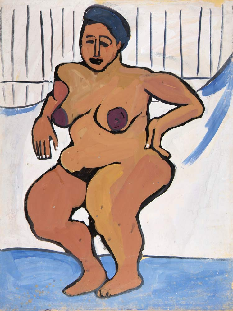 Female Nude Against White Background William H Johnson