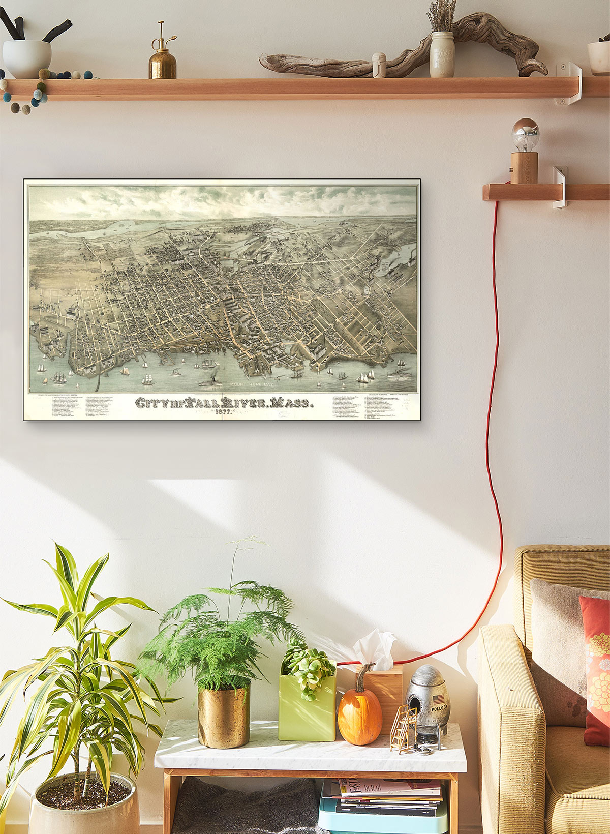 City Of Fall River Mass 1877 LARGE Vintage Map