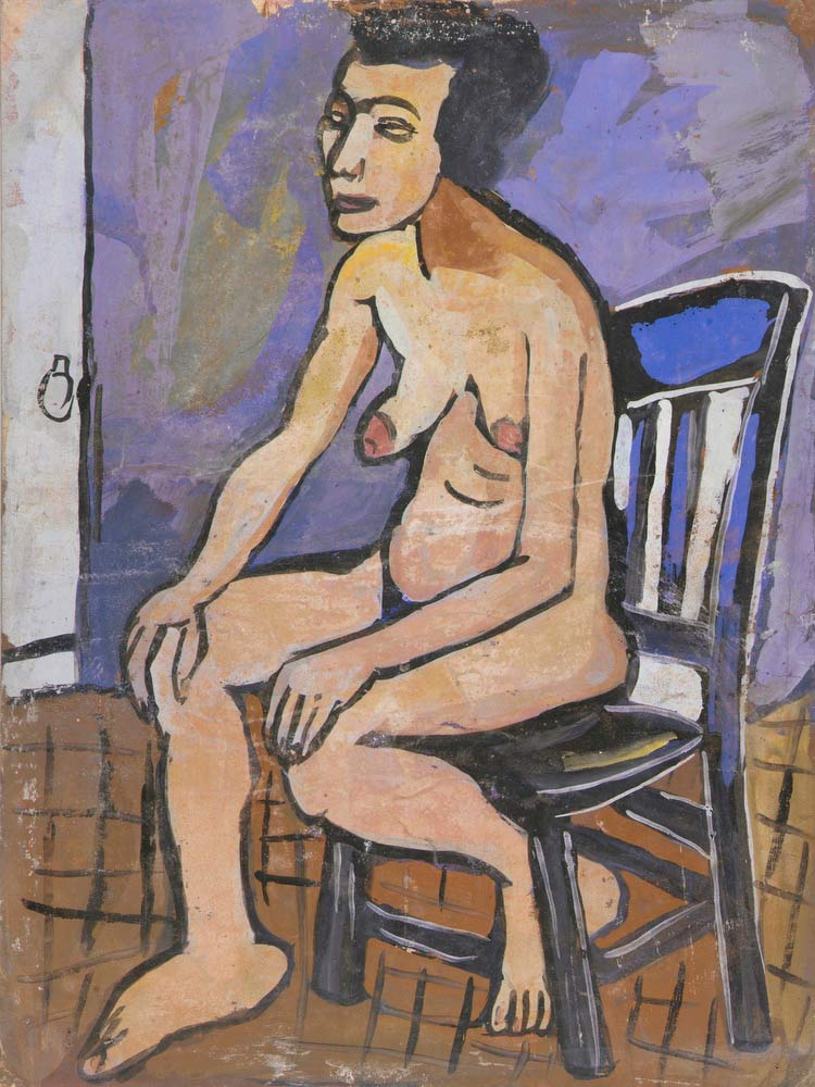 Seated Female Nude In Chair William H Johnson