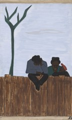 Migration Panel 26 And People All Over The South Began To Discuss This Great Movement by Jacob Lawrence