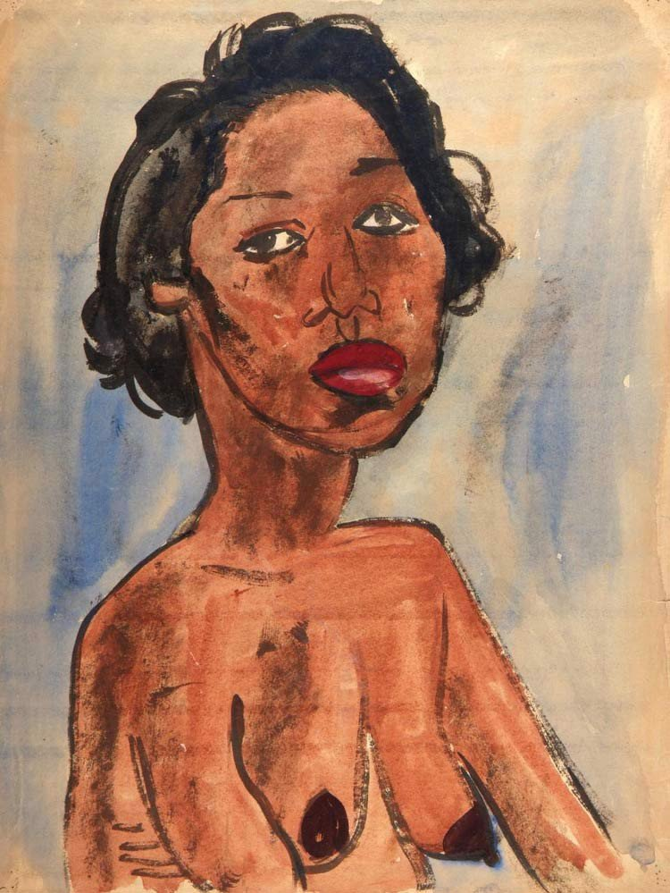 Female Nude  Portrait Bust William H Johnson
