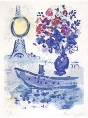 Bateau Mouche With Bouquet by Marc Chagall