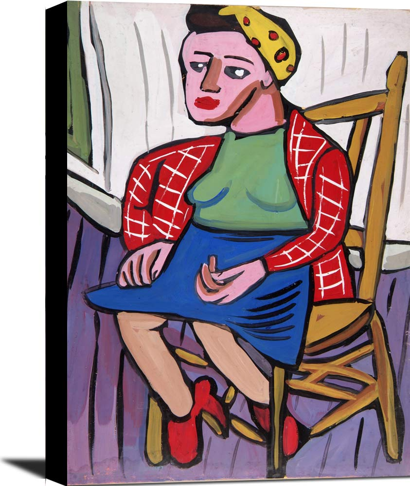 Seated Woman With Yellow Headband And Red Jacket William H Johnson