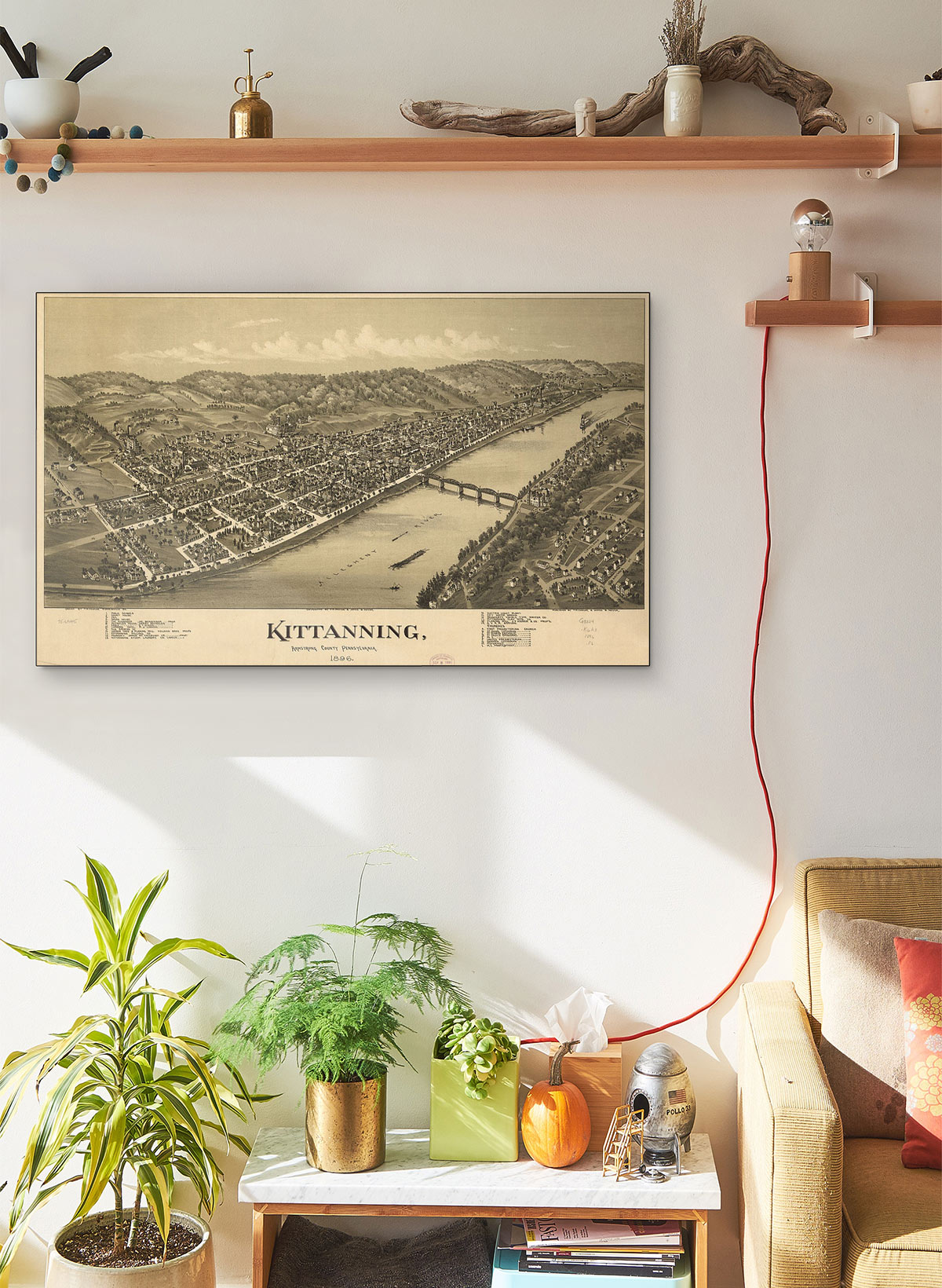 Kittanning Armstrong County Pennsylvania 1896 LARGE Vintage Map