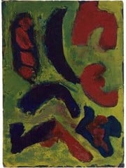 Abstract Composition In Green And Red by Barnett Newman