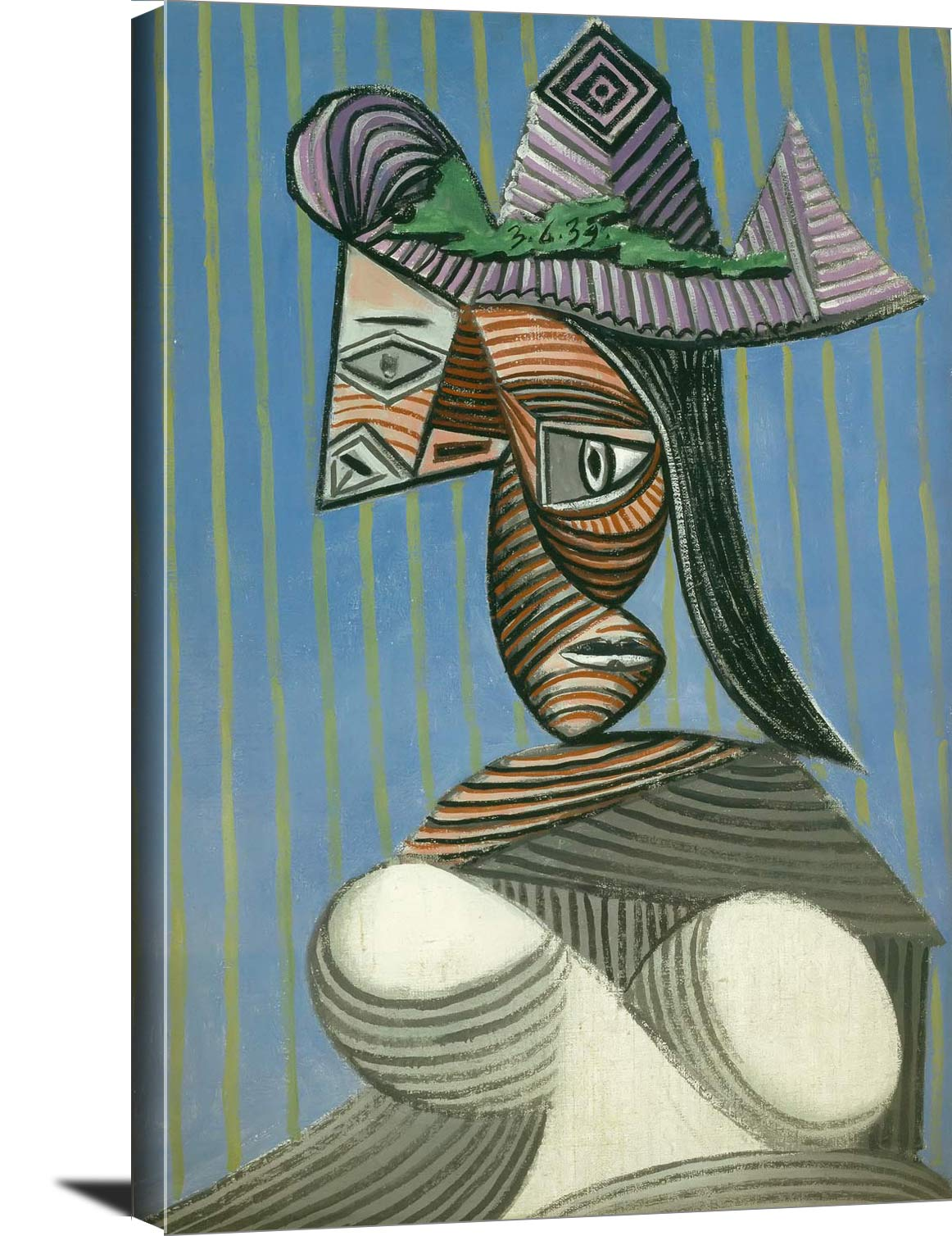 Bust Of A Woman In A Striped Hat 1939 Pablo Picasso