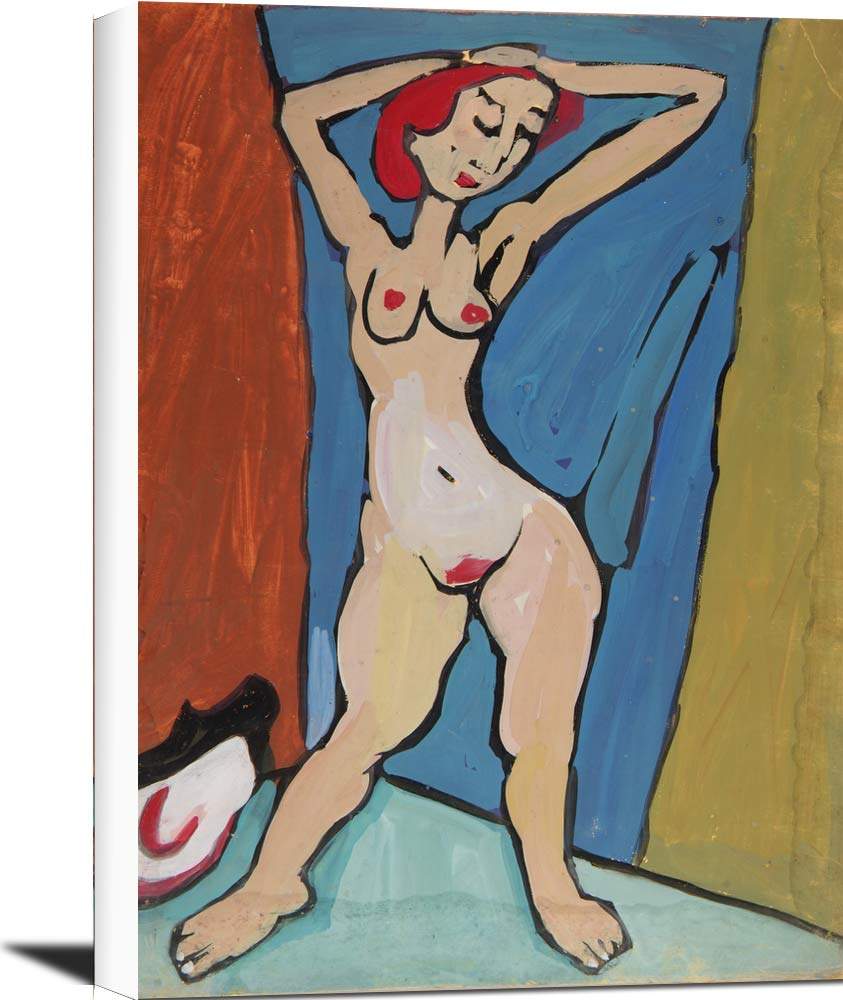 Standing Female Nude With Red Hair And Hands On Head William H Johnson